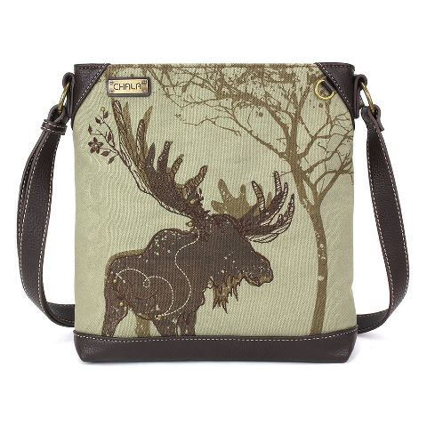 Charming Chala Safari Print Canvas Crossbody Mountain Moose Bag Handbag Purse