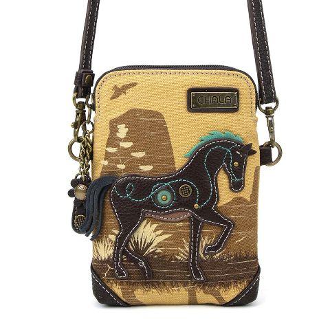 Charming Chala Equestrian Horse Brown Cell Phone Purse Mini Crossbody Bag