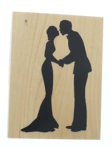 Inkadinkado Bride and Groom Kissing Couple Woman Silhouette Wooden Rubber Stamp