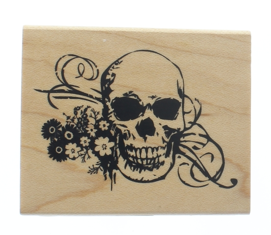 Inkadinkado Halloween Skull Skeleton with Flowers Wooden Rubber Stamp