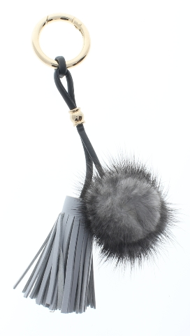 Faux Fur Grey Puff Dangel Tassel Drop Key Chain Fob Purse Phone Charm