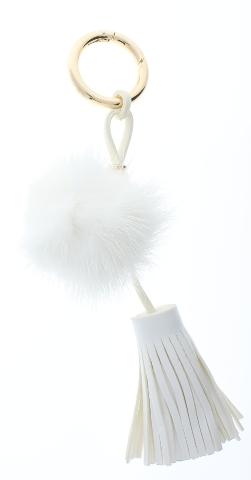 Faux Fur White Puff Dangel Tassel Drop Key Chain Fob Purse Phone Charm