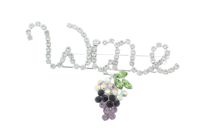 Grape Cluster Fun Wine Inspired Rhinestone Pin Brooch Broach