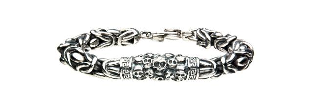 Inox Men's Skull Byzantine Chain Stainless Steel  Bracelet
