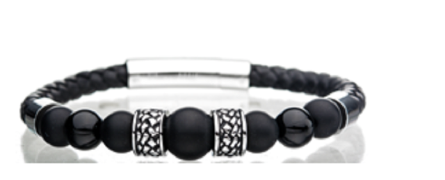 Inox Men's Leather Bracelet with Stainless Steel Clasp Black Onyx Beads