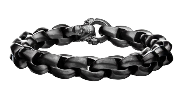 Inox Men's Matte Gun Metal with Skull Clasp Chain Bracelet