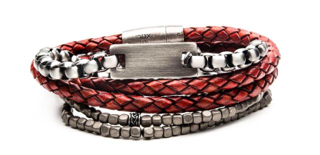 Inox Gunmetal Red Leather Hematite Stackable Bracelets Stainless Steel