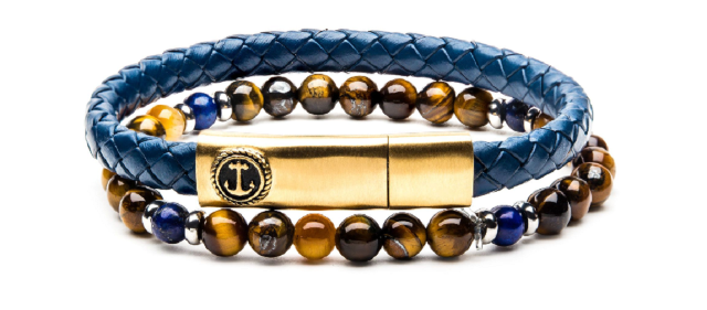 Inox Men's Tiger Eye Blue Gold Leather Stackable Bracelets Stainless Steel