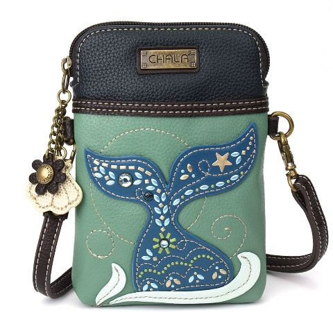 Charming Chala Teal Whale Tail Cell Phone Purse Mini Crossbody Bag