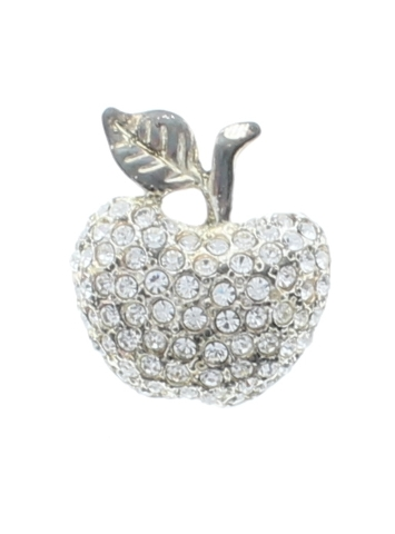 Apple with Silver Tones and Rhinestone Bling Pin Brooch Broach