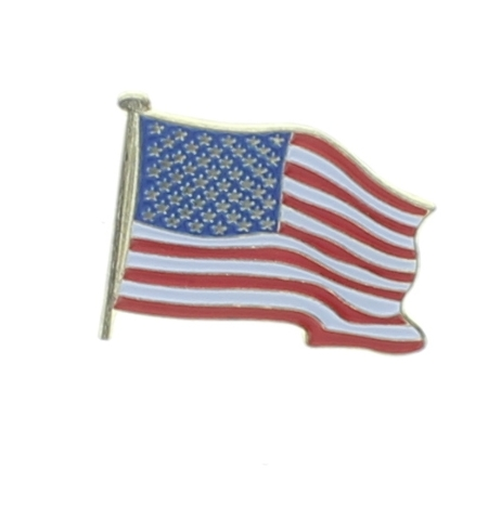 Striped Flag White, Blue, And Red  Vintage Metal Hat Lapel Pin