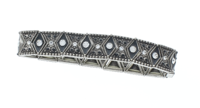 Rhinestone Bling Elastic Stretch Bracelet with silver tones Vintage inspired