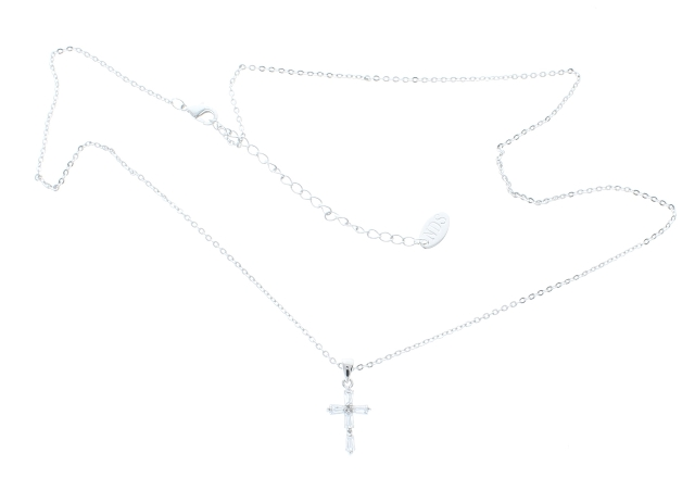 NDS Silvertone Necklace with Rhinestone Bling Cross pendant Charm