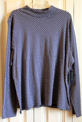 NWT New Westbound Plus Sz 3X Long Sleeve Dk Blue White Stars Top