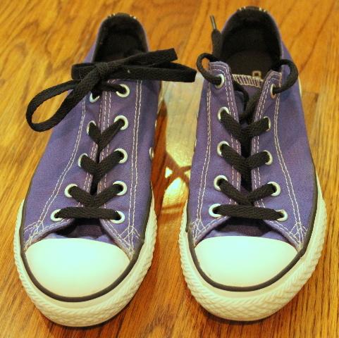 Girls Youth Converse Sneaker All Stars Sz 2 Purple Ties EUC