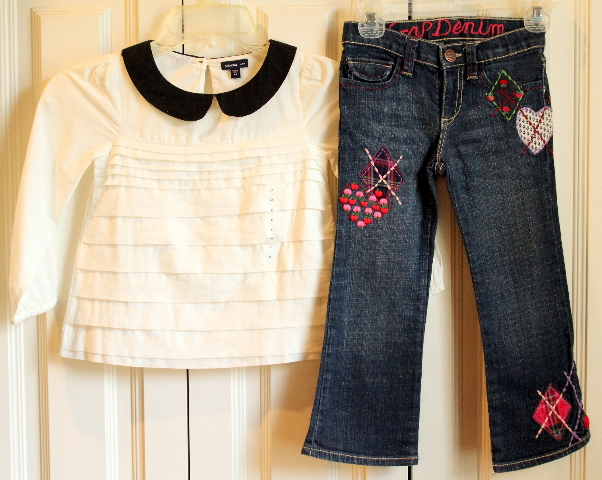 Baby Gap Lot Sz 4T NWT Long Sleeve Blouse & Denim Apple Jeans