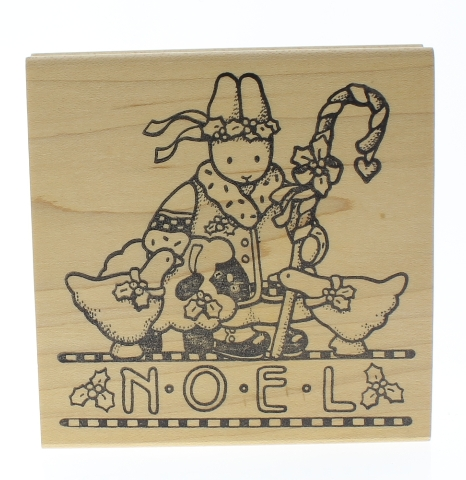 Noel Daisy Kingdom Bunny Duck and Sheep Wooden Rubber Stamp