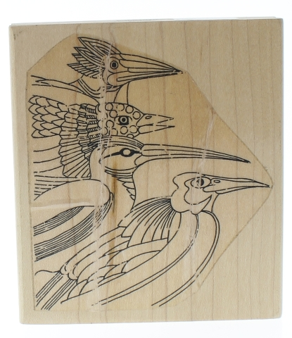 St Louis Stamp Design Crane Herron Bird Collage Wooden Rubber Stamp