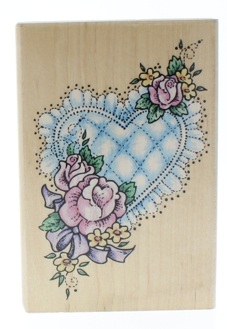 Stampendous Quilted Heart and Rose Flowers Garden Botanical Wooden Rubber Stamp