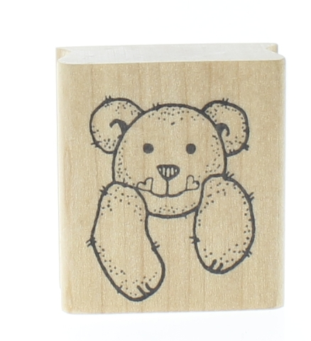 Imagine That Teddy Bear Front Wooden Rubber Stamp