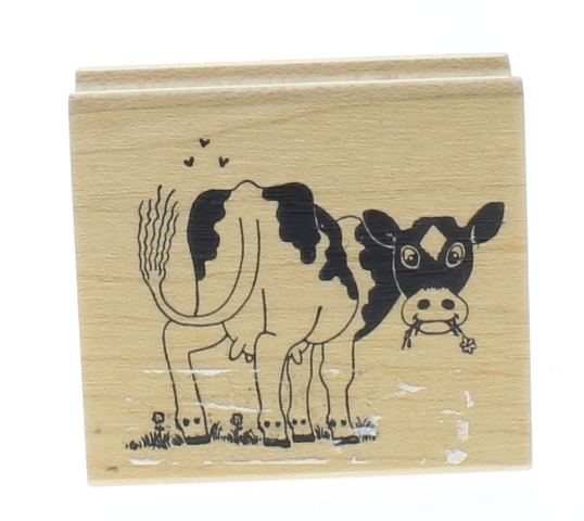 Embossing Arts Cartoon Cow Swatting the Flies Wooden Rubber Stamp