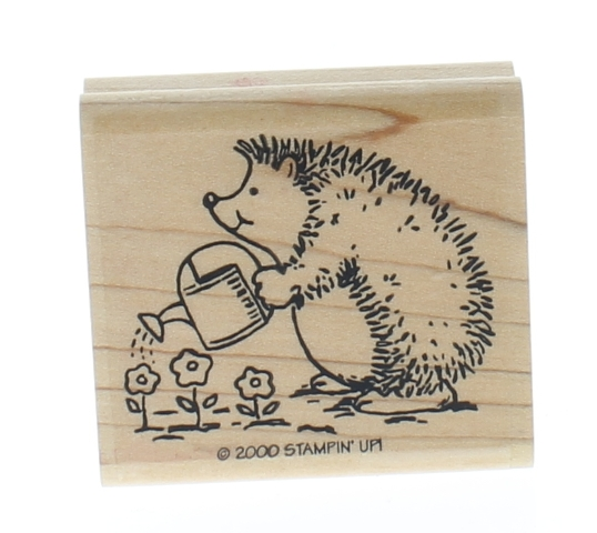 Stamping Up Hedgehog watering the flowers 2000 Wooden Rubber Stamp