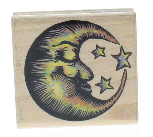 Rubber Stampede Man in the Moon and Stars Astral Celestial  Wooden Rubber Stamp
