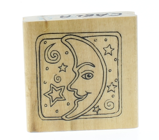 Anita's Man in the Moon and Stars Celestial Scene Wooden Rubber Stamp
