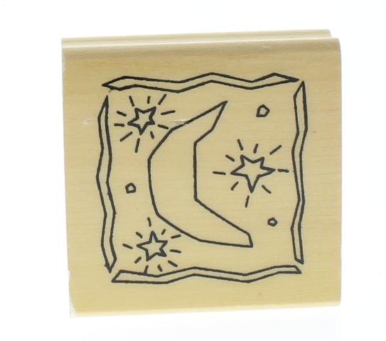 Anita's Moon and Stars Celestial Scene Wooden Rubber Stamp