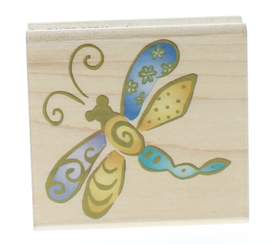 Rubber Stampede Whimsical Dragonfly Garden Insect Wooden Rubber Stamp