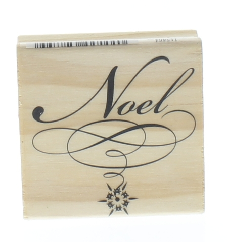 Craftsmart Noel with Swirls Wooden Rubber Stamp