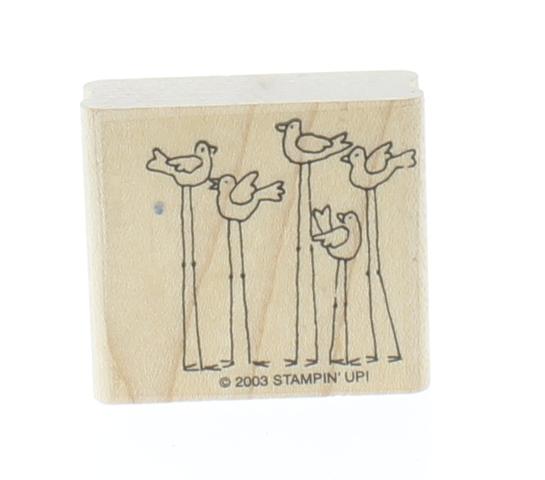 Stampin Up Long Legged Birds Sea Gulls 2003 Wooden Rubber Stamp