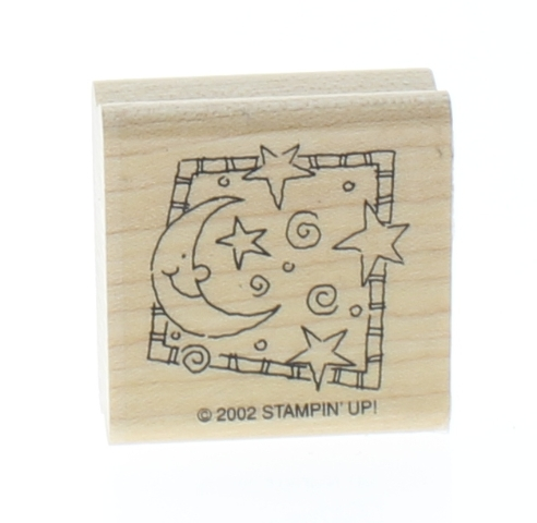 Moon Stars and Swirls Stampin Up Wooden Rubber Stamp