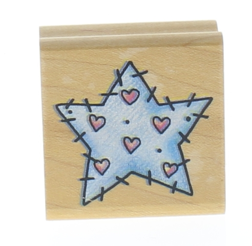 Rubber Stampede Stitched Star Wooden Rubber Stamp
