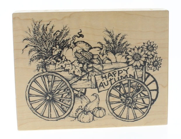 PSX Happy Autumn Waggon Carriage with Pumpkins  K-1990 Wooden Rubber Stamp