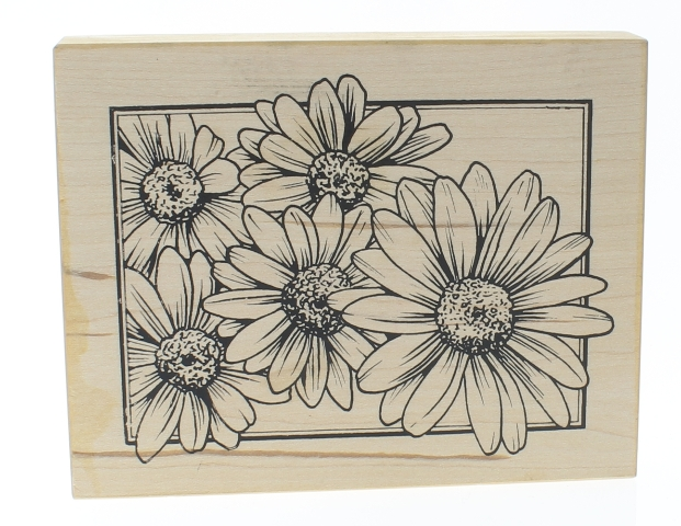 Stampa Rosa Daisy Flower Bunch Wooden Rubber Stamp