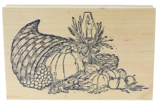 Art Impressions Horn of Plenty Thanksgiving Fall Autumn Wooden Rubber Stamp