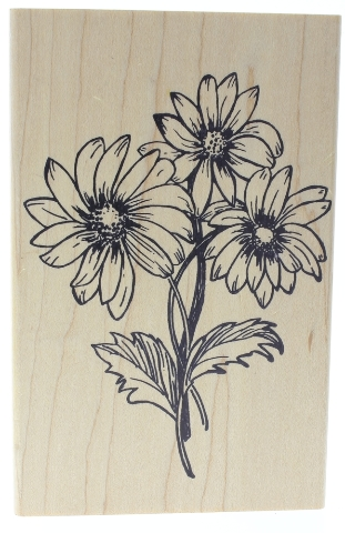 Love to Stamp Wild Daisy Flower Cluster Wooden Rubber Stamp