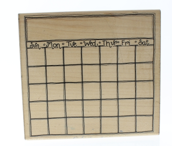 JRL Design Blank Calendar Month to Month Wooden Rubber Stamp