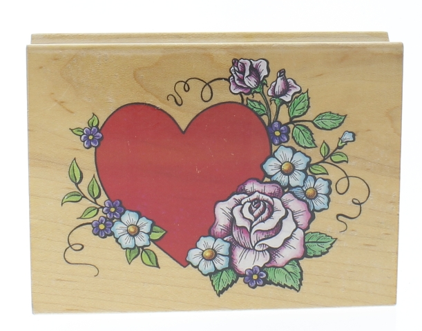 All Night Media Romantic Heart and Flower Swag Wooden Rubber Stamp