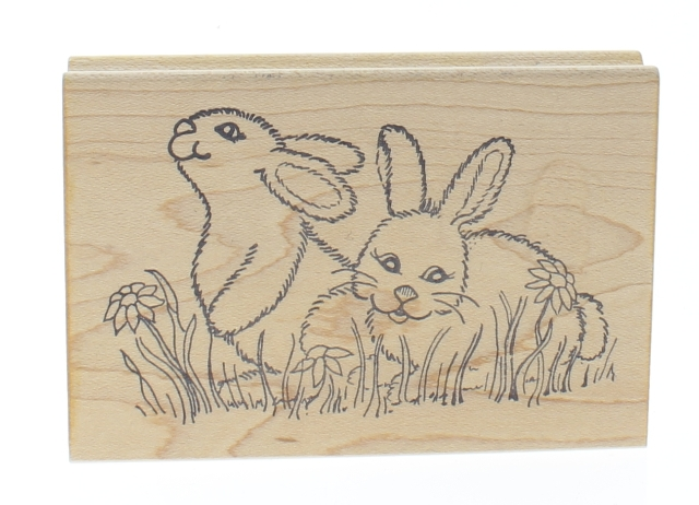 Great Impressions Easter Spring Bunnies in the Grass Wooden Rubber Stamp
