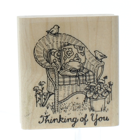 Thinking of You Greeting Summer Garden Wicker Chair Wooden Rubber Stamp