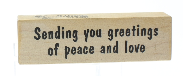 Stampa Rosa Sending Greetings of Peace Love Wooden Rubber Stamp