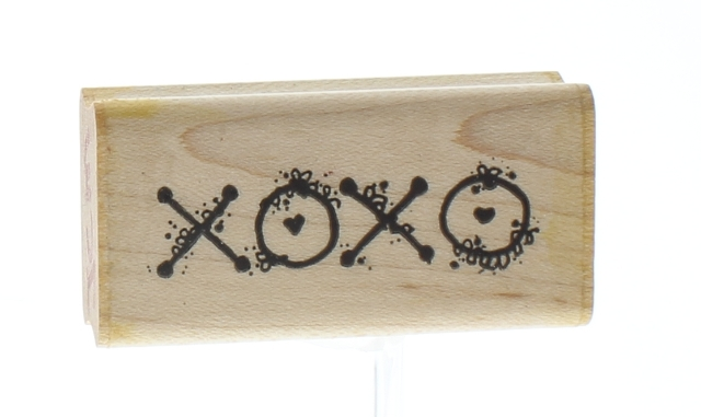 XOXO I Love You Romance Dots F158 Wooden Rubber Stamp