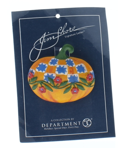 Jim Shore Collectible Department 56 Hat Lapel Pin Halloween Patchwork Pumpkin