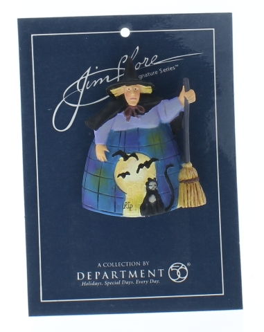 Jim Shore Collectible Department 56 Hat Lapel Pin Halloween Witch with Black Cat