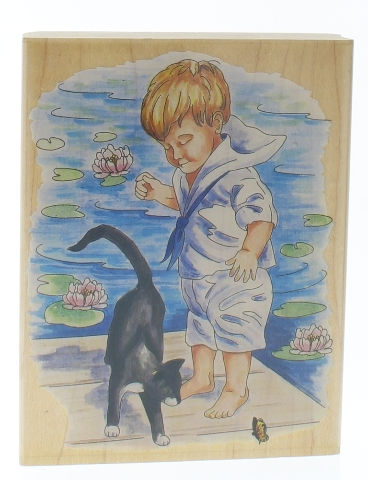 Stamps Happen Boy with Cat at the Waterside Wooden Rubber Stamp