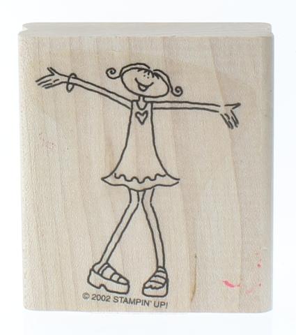 Stampin Up 2002 Little Girl Great Big Hug Wooden Rubber Stamp