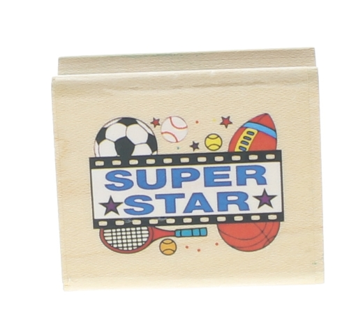 Noteworthy Super Star Sports Theme Tennis, Soccer Football  Wooden Rubber Stamp