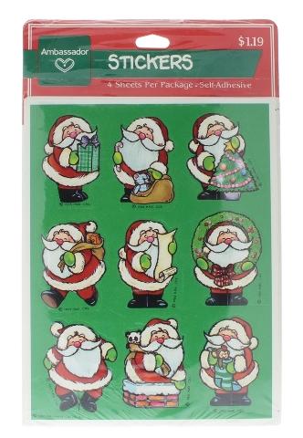 Hallmark Vintage Sticker Pack Holiday Santa Claus Gift 4 Sheet pack 1985